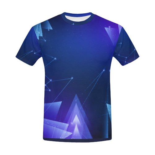 Men's Blue Deep Space Print T-Shirt USA Sizes