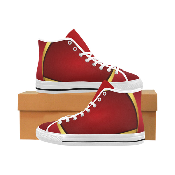 Men's Red and Gold High Top Canvas Sneakers