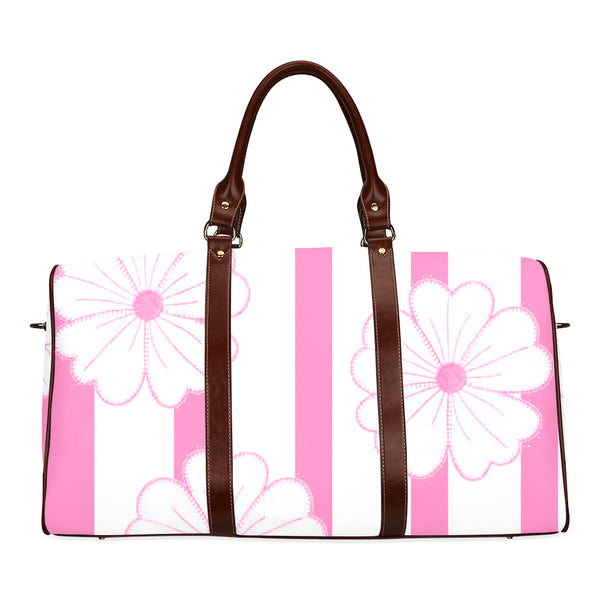 Women's Pink Stripes & Flowers Brown Travel Bag - Swamp Kicks
