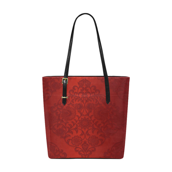 Red Damask Small Leather Shoulder Tote Bag