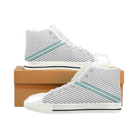 Men's Aquila Blue Parallel Lines High Top Canvas Sneakers - Swamp Kicks