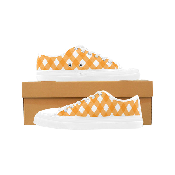 Women's Orange Check Canvas Sneakers - Swamp Kicks