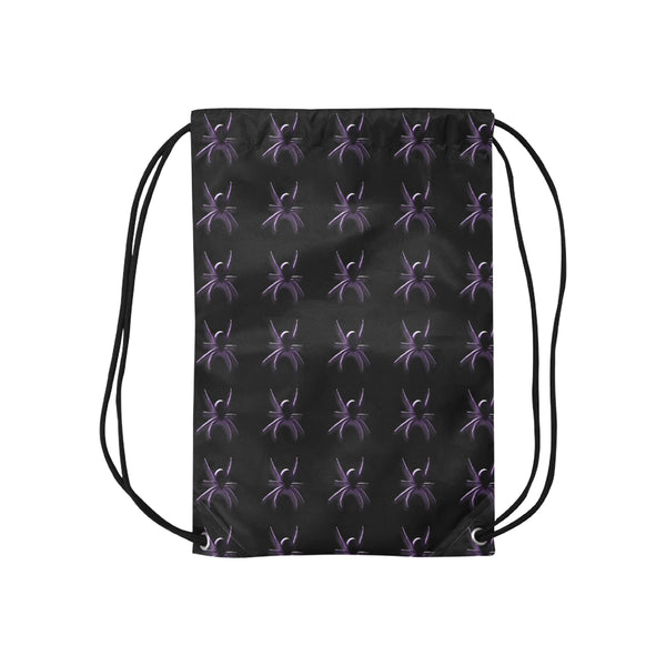 Halloween Black Spiders Small Drawstring Bag