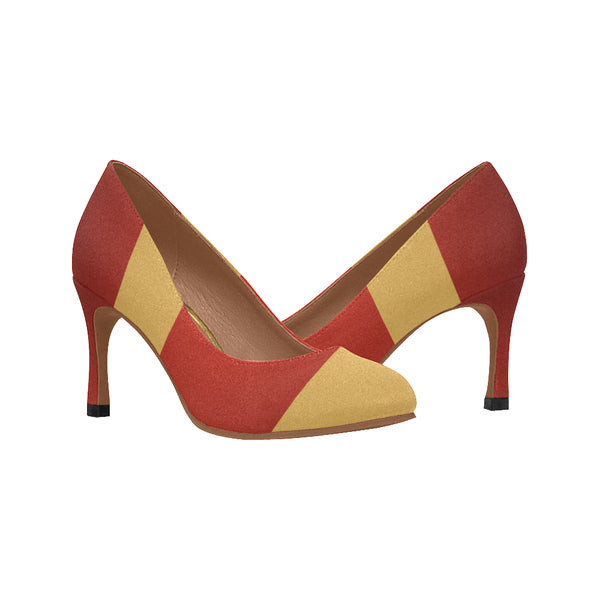 Women's Camel Red Pumps