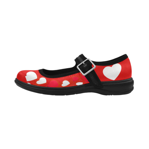 Women's Red Hearts Flat Mary Janes