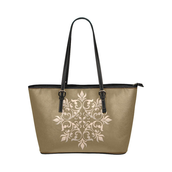 Women's Beige Leather Shopping Tote Bag - Swamp Kicks