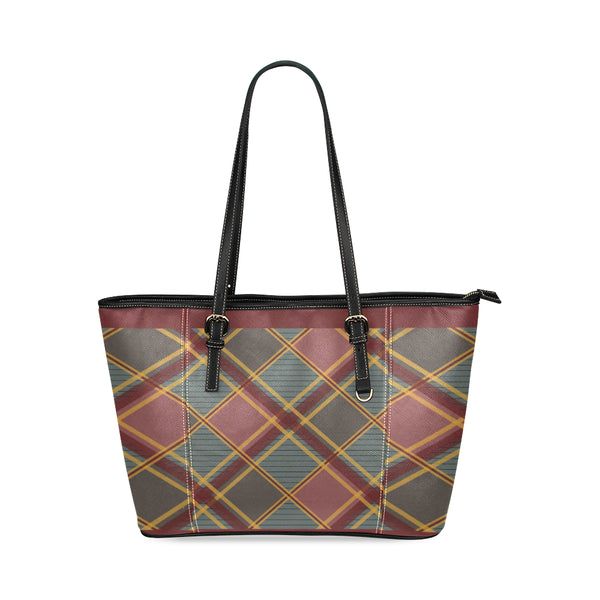 Modern Plaid Small Leather Shoulder Tote Bag