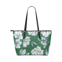 Green and White Flowers Small Leather Tote Bag