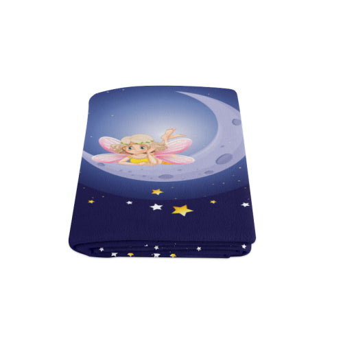 "Fairy Bedspread Kids Blue Full-Size Cotton Fleece Blanket 58""x 80"""