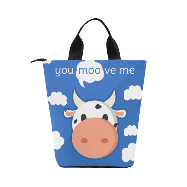 You MOOve Me Adult Nylon Cylinder Lunch Bag (Black)