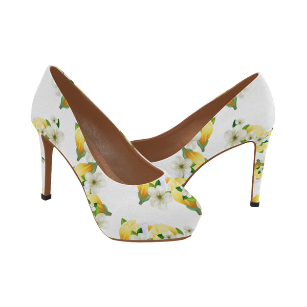 White Flowers Women's Platform High Heels Shoes