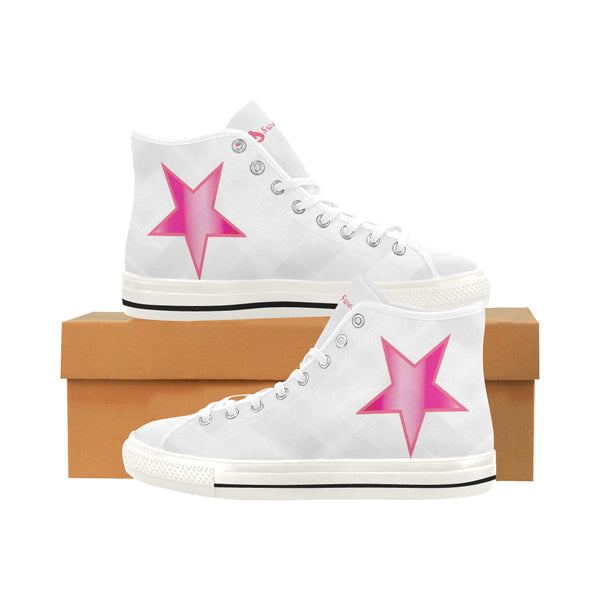 Pink Stars - Womens High Top Canvas Sneakers