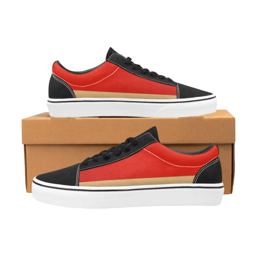 Men's Red & Gold-Trim Lace-Up Canvas Shoes