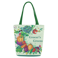 Grocers Greens Lightweight Small Reusable Cloth Shopping Tote Bag