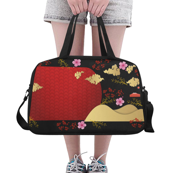 Red Cherry Blossoms Crossbody Travel Bag - Swamp Kicks
