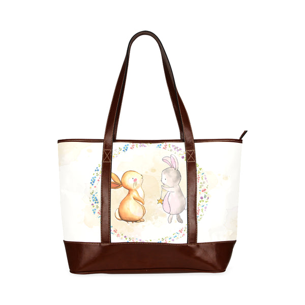 Bunnies Brown Bottom Leather Tote Shopping Bag - Swamp Kicks