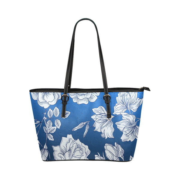 Royal Blue-White Flowers Tote Bag