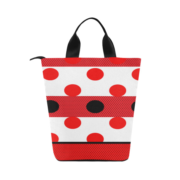 Red Polka Dot Hot/Cold Food Upright Cylinder Lunch Bag