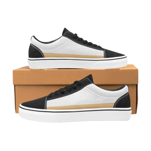 Men's White & Gold-Trim Lace-Up Canvas Shoes