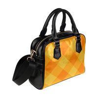 Orange Gingham Shoulder Handbag