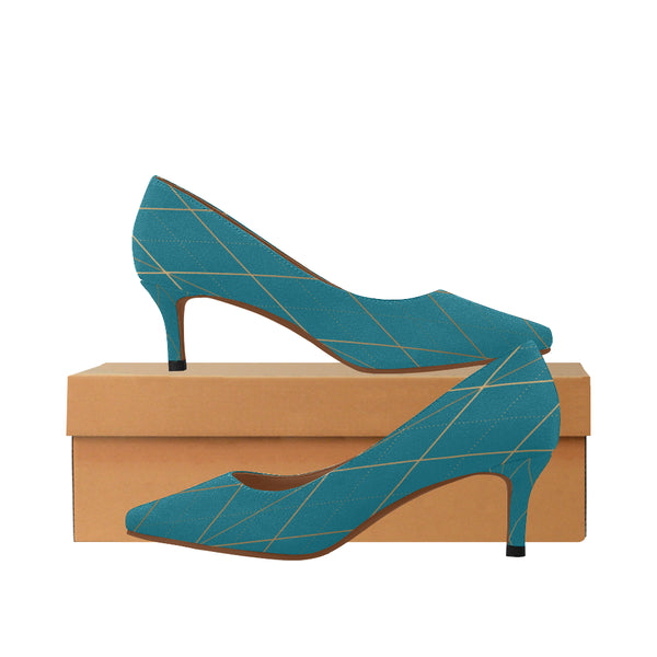 Women's Blue Low Kitten Heel Pumps