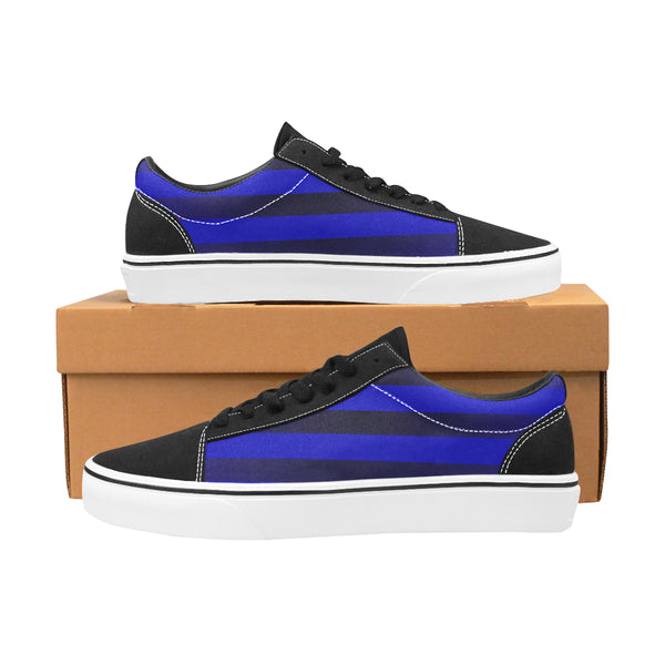 Men's Blue Stripe Lace-Up Canvas Shoes