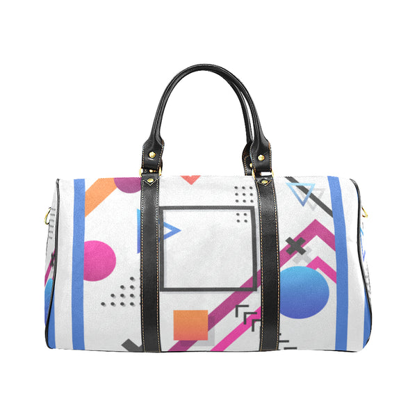 Blue Crazy Print Barrel Handbag