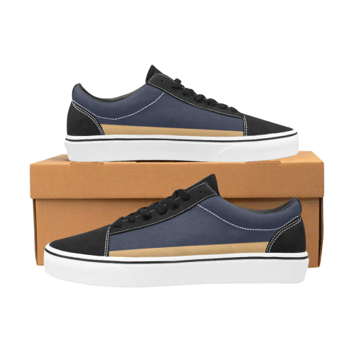 Men's Blue  & Gold Trim Low Lace-Up Canvas Shoes