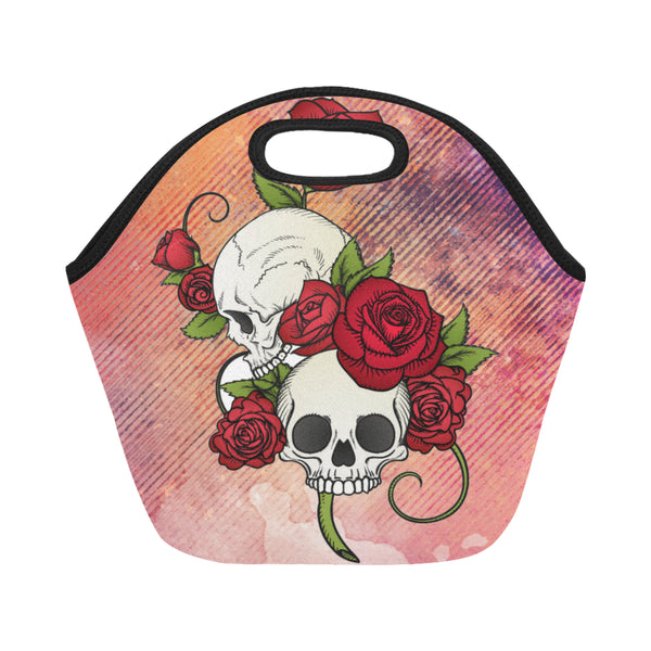 Rose Skull Neoprene Small Adult Lunch Bag