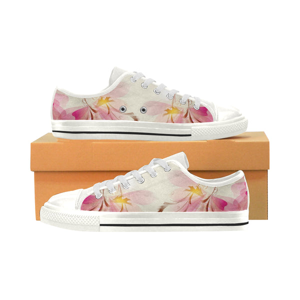 Women's Aquila Low Top Pink Flowers Canvas Sneakers - Swamp Kicks