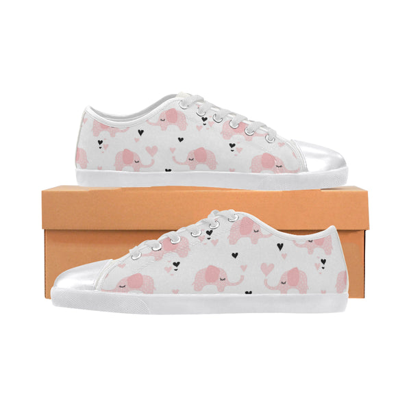 Girls Pink Elephants Canvas Sneakers - Swamp Kicks