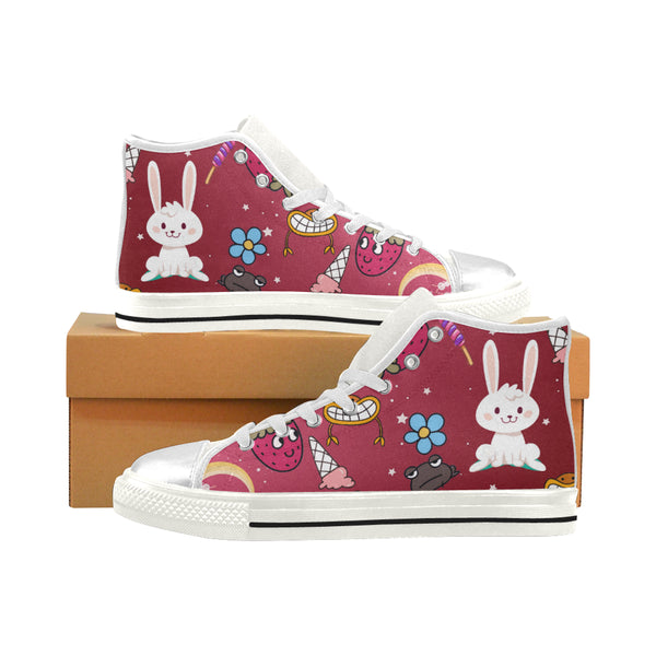 Girls Funny Bunny Aquila High Top Canvas Shoes - Swamp Kicks
