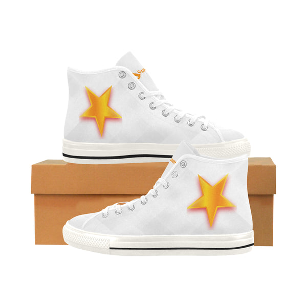 Women's Orange Star White High Top Canvas Sneakers