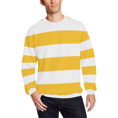 Men's Gold & White Striped Long-Sleeve Sweatshirt