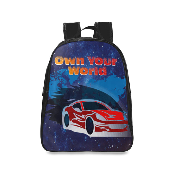 Own Your World Kids Large Leather School Backpack (Black) - Swamp Kicks