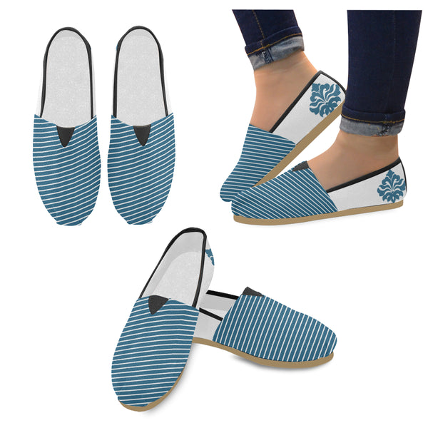 Women's Blue Diagonal Stripe Casual Slip-ons - Swamp Kicks
