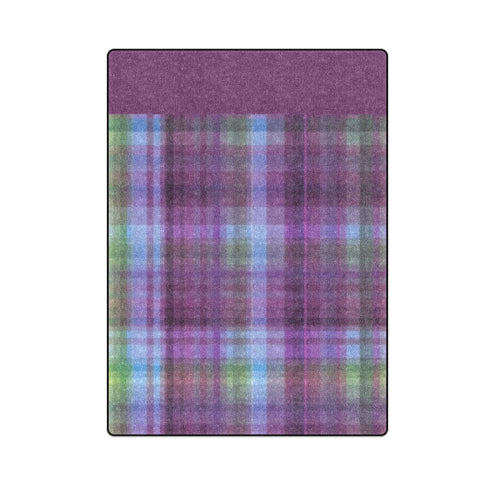 "Violet Check Bedspread Full-Size Cotton Fleece Blanket 58""x 80"""