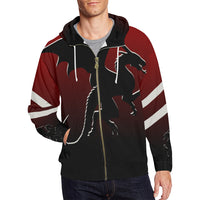 Men's Red Black Dragon Full Zip Hoodie - Swamp Kicks