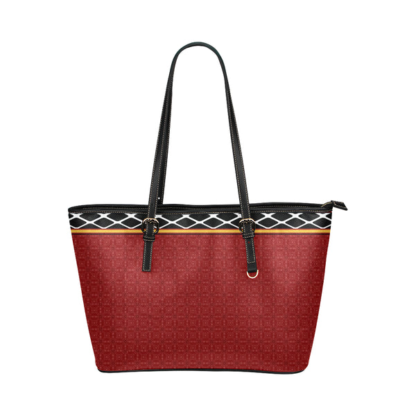Women's Red Large Leather Tote Bag - Swamp Kicks