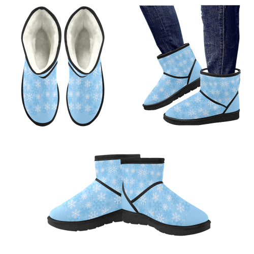 Women's Blue Snowflake Low Top Snow Boots