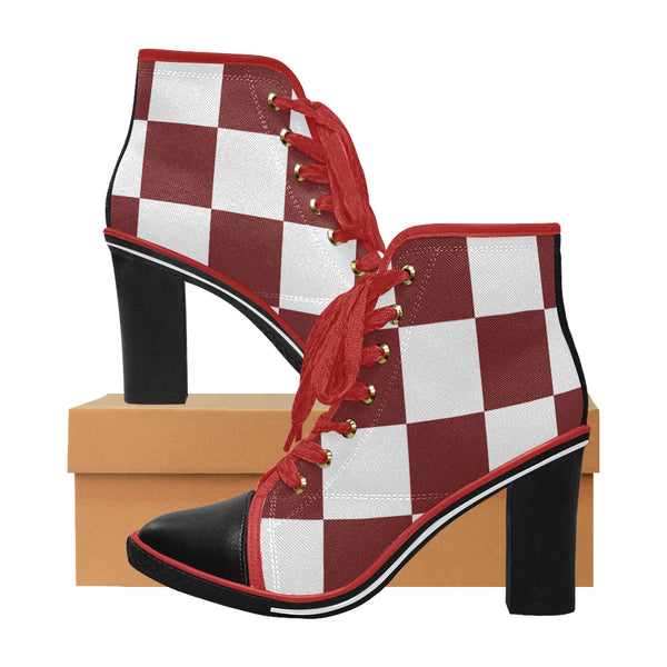 Women's Red Check Chunky Heel Ankle Boots
