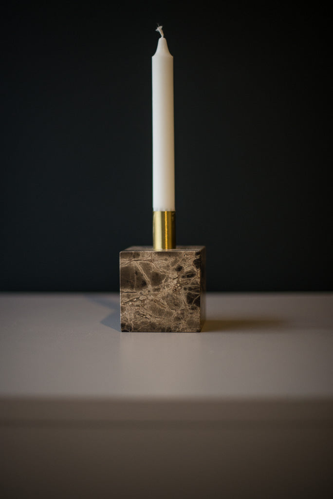 Brown marble candle holder, New Works
