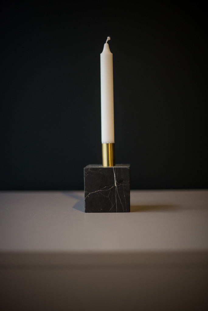 Picture of: New Works Black Marble Candle Holder 28 Q
