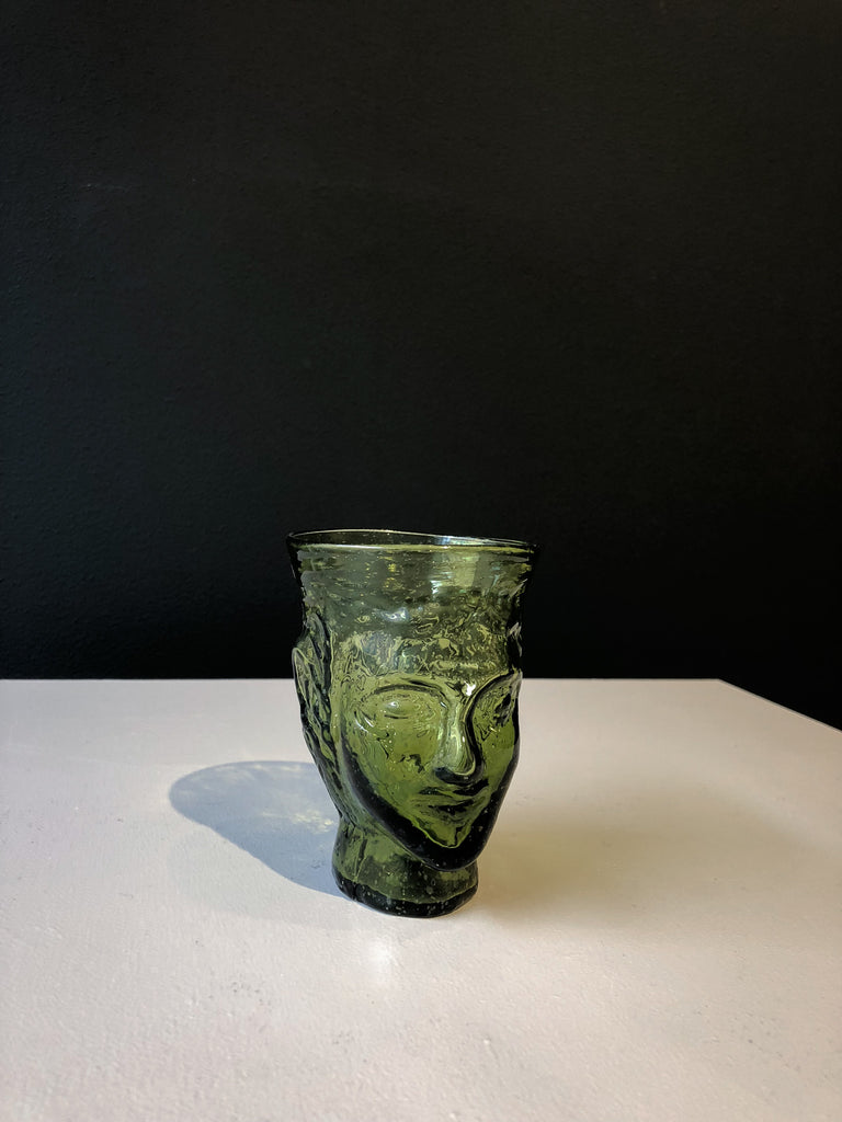 Glass Verre Tete with face - Olive