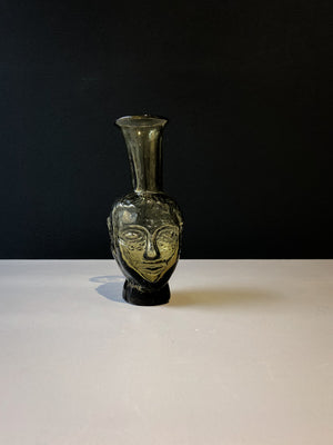 Glass Vase/Carafe Tete with face - Yellow