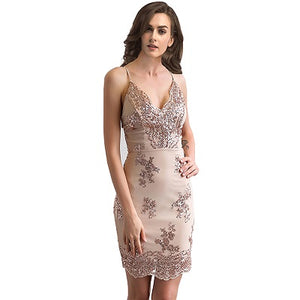 Sexy Rose Gold  V Neck Sequins Short Dress