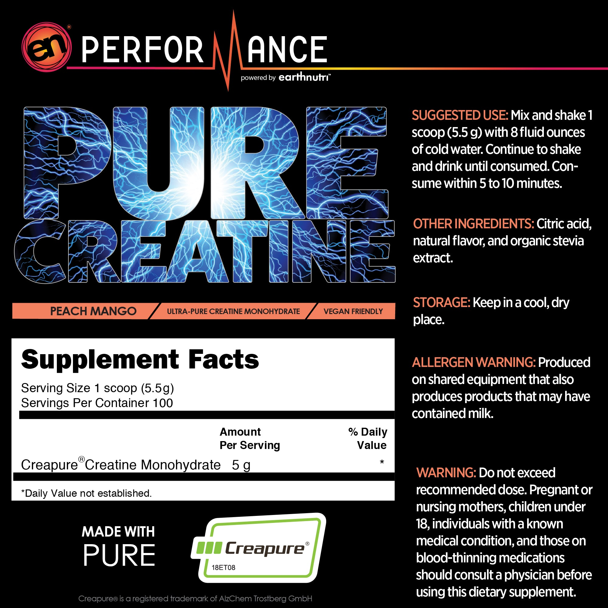 PEach Mango Pure Creatine Supplement Fact Info