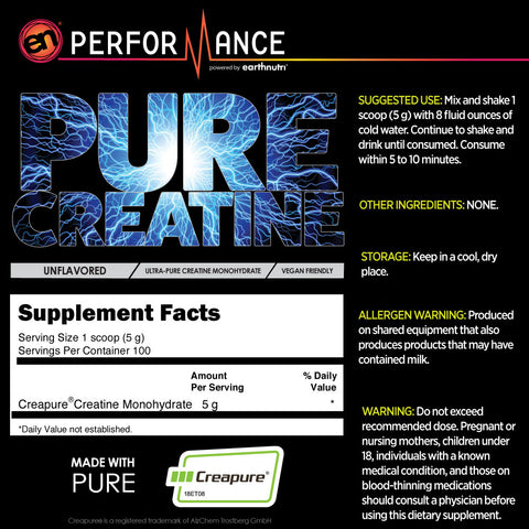 Unflavored Pure Creatine Supplement Facts