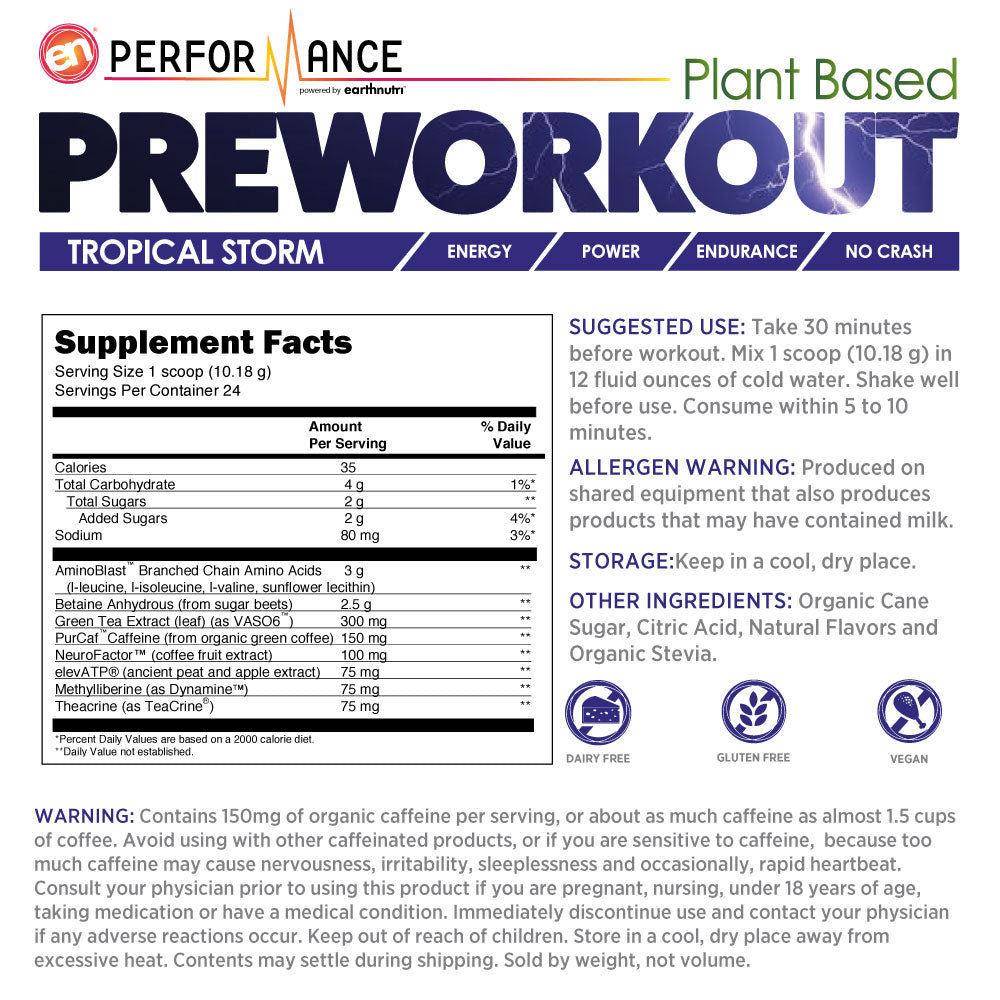 Plant Based Pre Workout Supplement Facts and Instructions