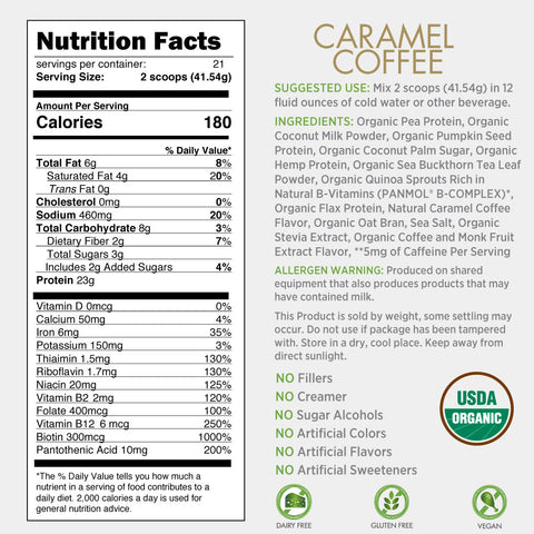 Certified Organic Plant Based Protein - Caramel Coffee